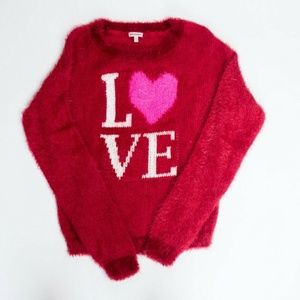 Juicy Couture XL sweater red knit fuzzy vegan love